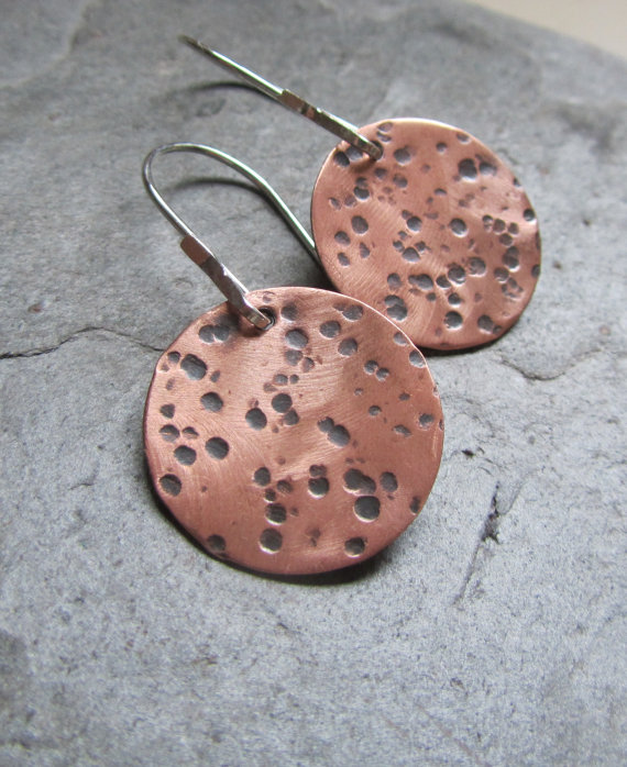 copper hammered disc earrings