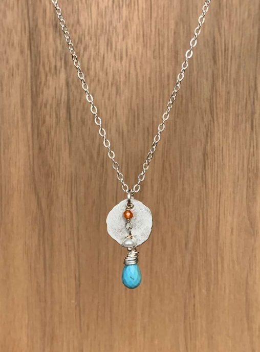 recycled silver disc with turquoise and carnelian necklace