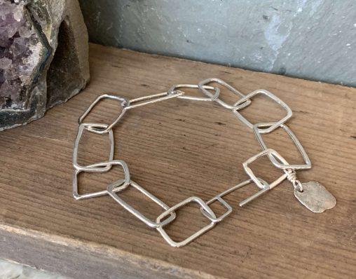 handmade rectangle chain sterling silver bracelet