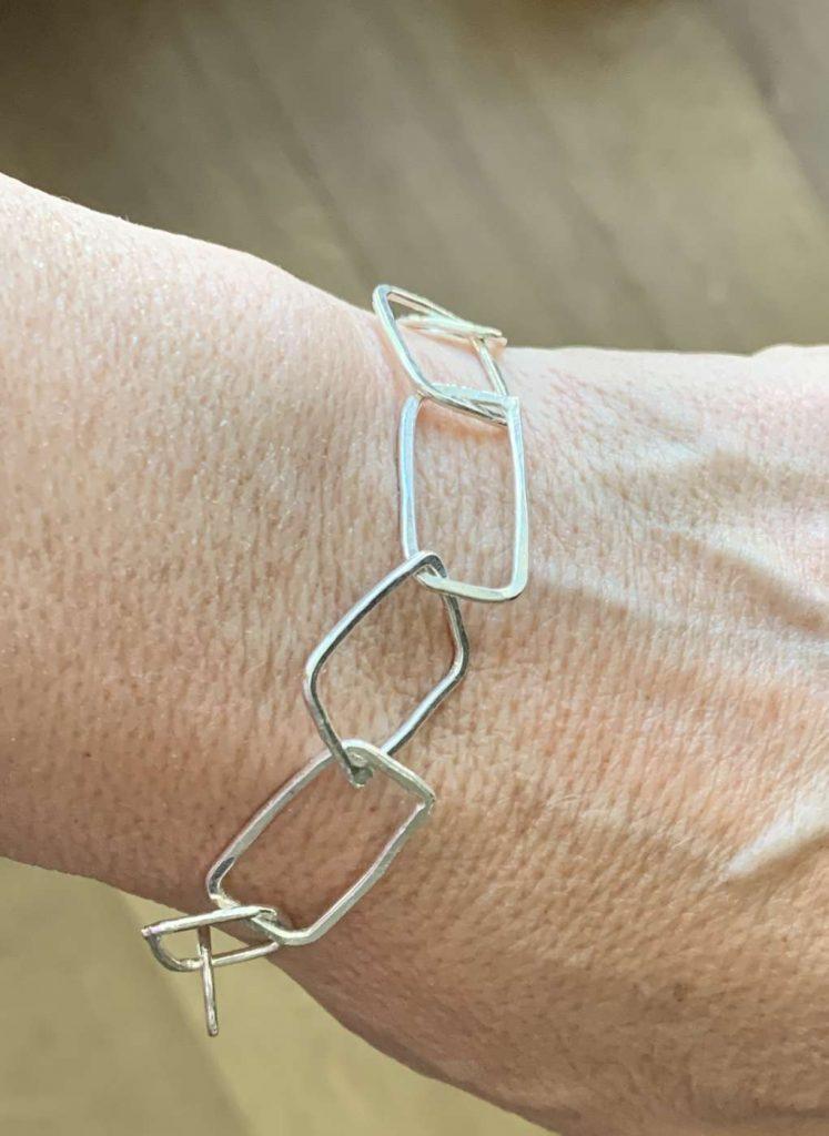silver square link bracelet