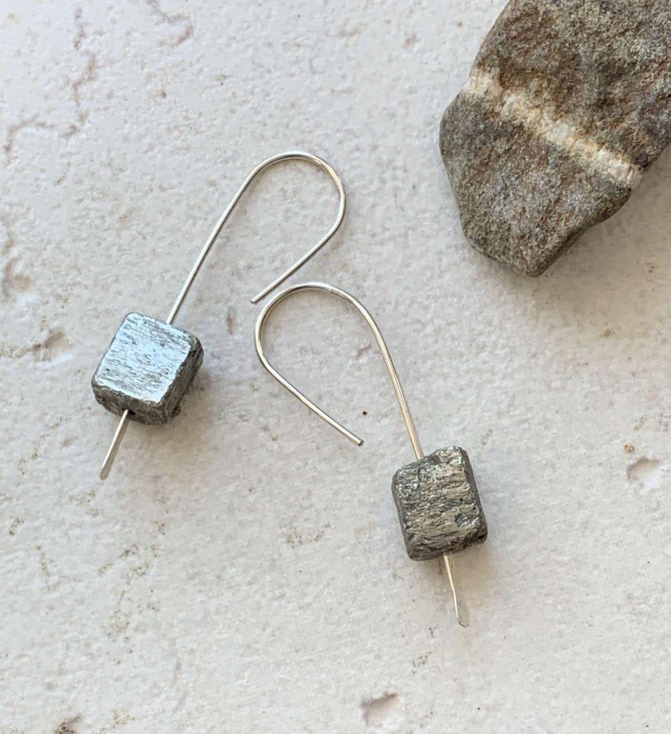 rough pyrite earrings