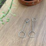 silver geometric earrings