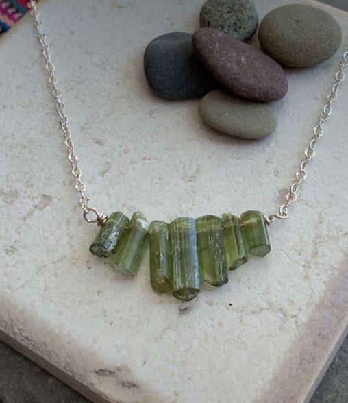 raw green tourmaline necklace