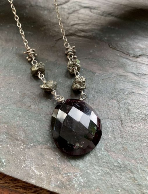 garnet pyrite bramble necklace