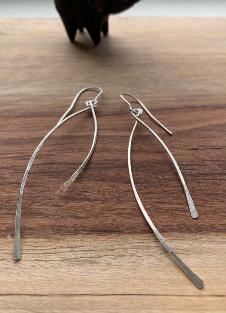 long silver earrtings