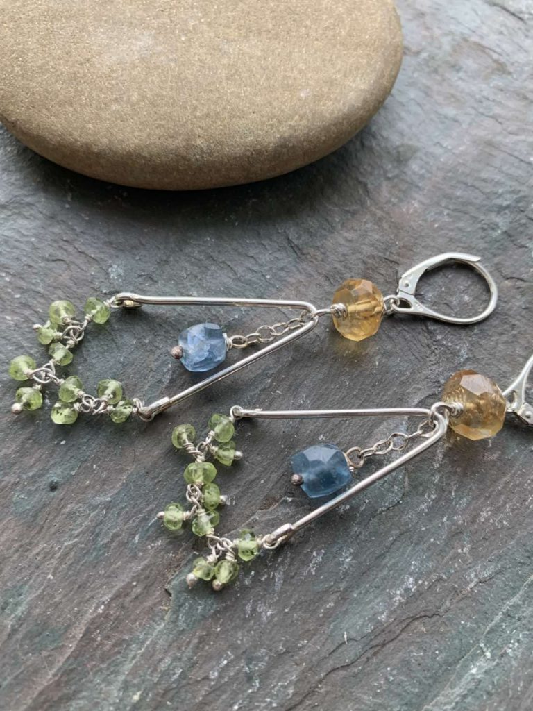 mixed gemstone earrings