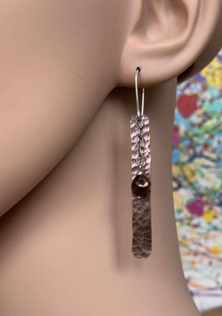 long hammered copper earrings