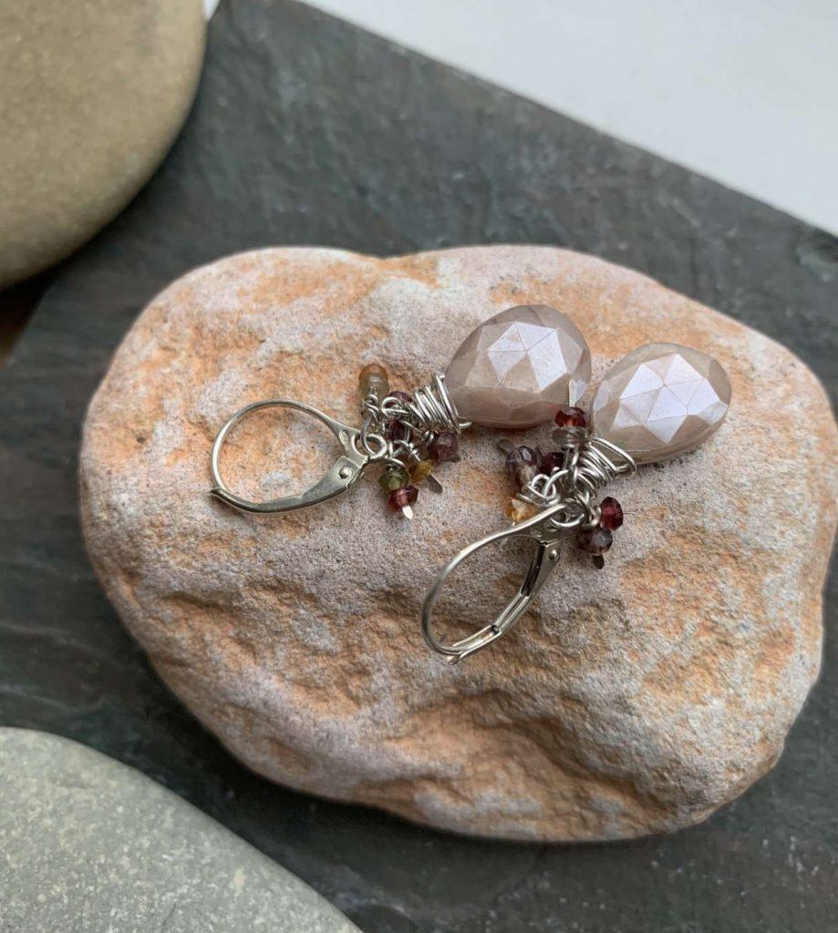 peach moonstone spinel earrings