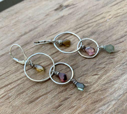 silver multicolored tourmaline earrings