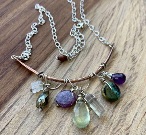 copper gemstone cluster necklace