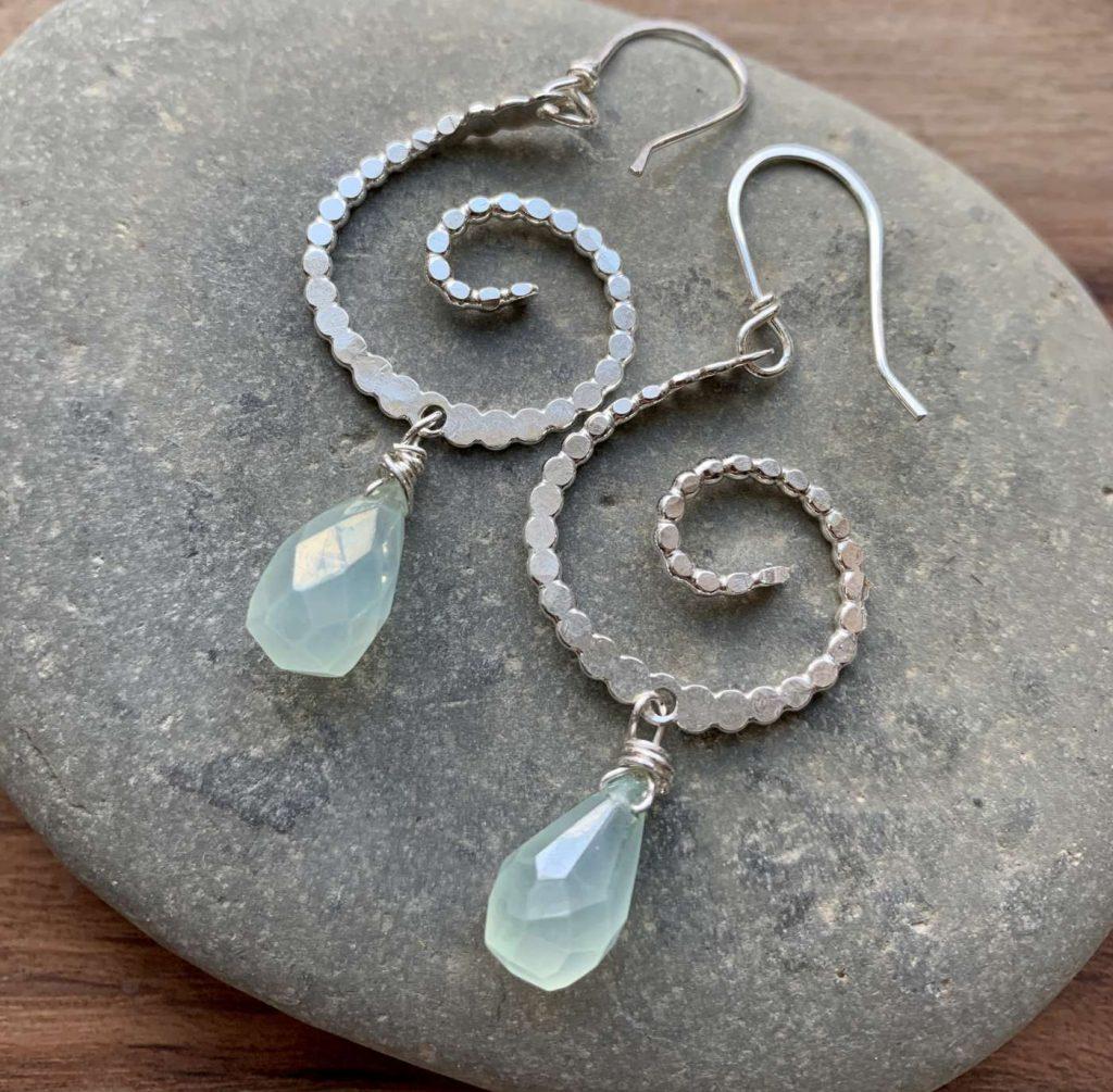 chalcedony silver swirl earrings