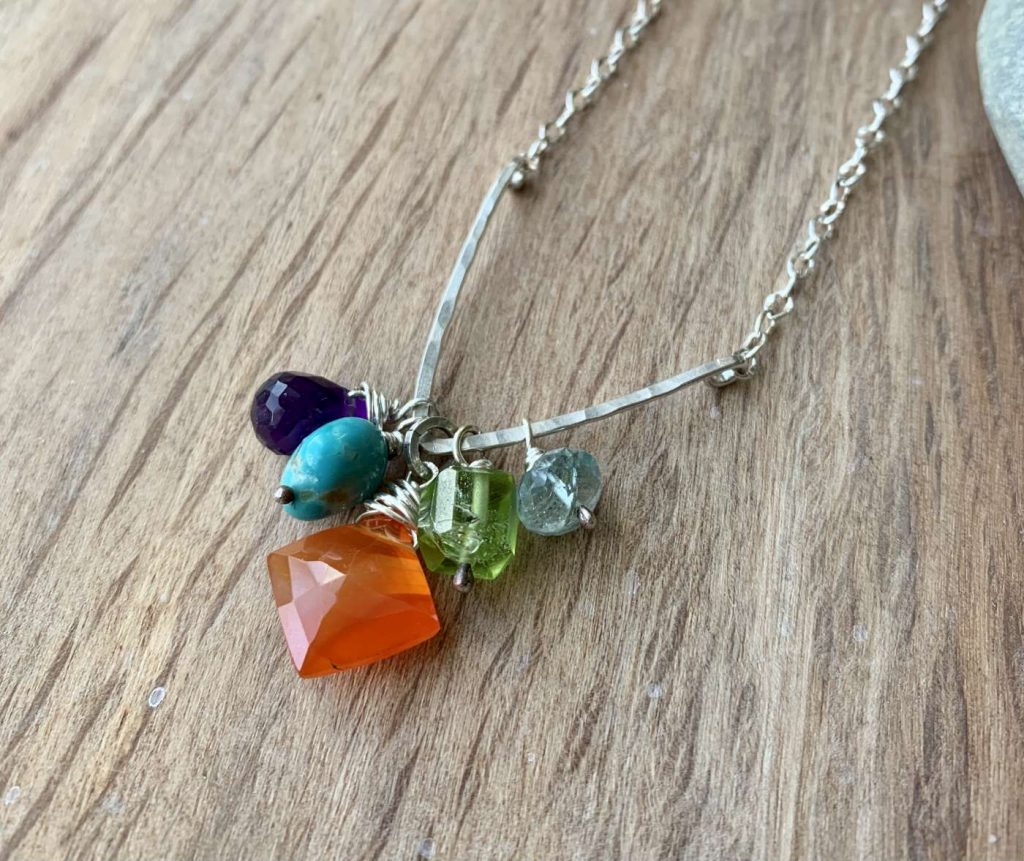 Colorful gemstone cluster necklace