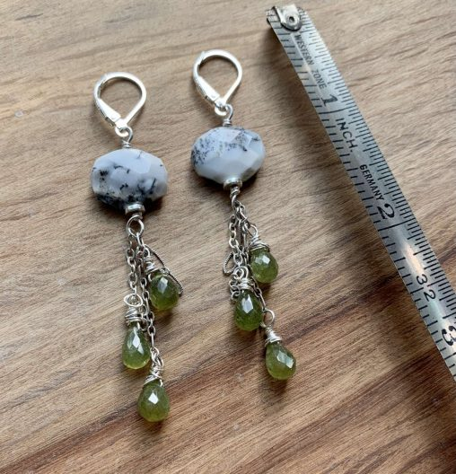 dendritic opal peridot earrings