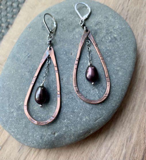 mixed metal pearl earrings